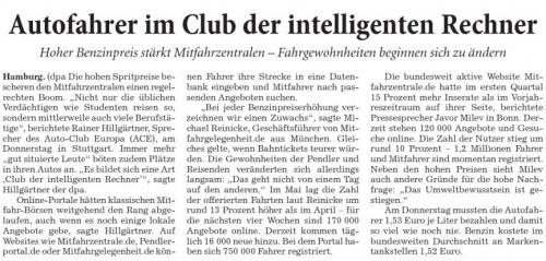 Autofahrer im Club der intelligenten Rechner als jpg RNZ vom 30. Mai 08