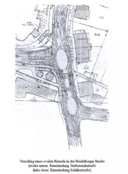 Kreiselskizze – Für den Kreuzungsbereich Heidelberger / Gerbersruh- / Schillerstraße (korrigierte Version)
