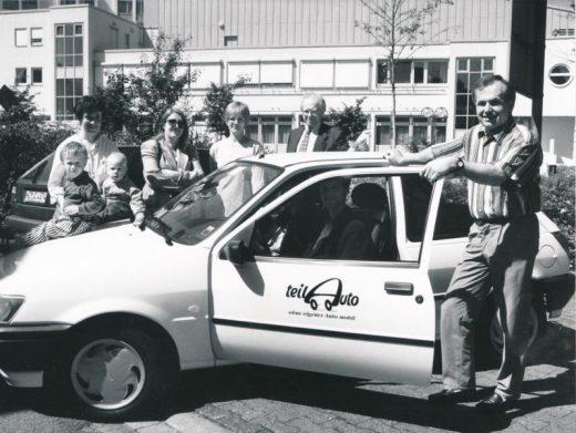 Das erste Wieslocher Teilauto mit OB Gustav Bylow im Mai 1996 …